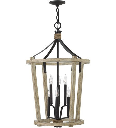 Pendants 6 Light With Cottage Whitewash Finish Wood and Steel Material Candelabra Base 21 inch 360 Watts