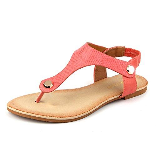 Mu Dan Women Nail Casual Wear Gladiator Flat T-Strap Sandals (9 B(M) US, CORAL)