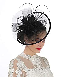 Lucky Leaf Women Girl Fascinators With Hair Clip Hairpin Hat Bowknot Feather Flower Veil Cocktail Wedding Tea Party Hat 8 Black
