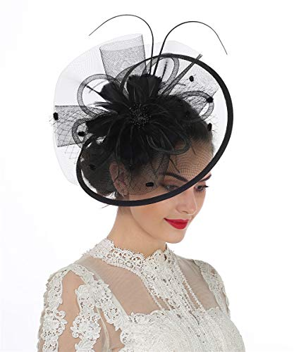 Lucky Leaf Women Girl Fascinators with Hair Clip Hairpin Hat Bowknot Feather Flower Veil Cocktail Wedding Tea Party Hat (8-Black) -