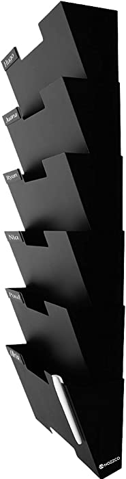 Black Wall Mount Hanging File Holder Organizer 6 Pack | Durable Steel Rack, Solid, Sturdy & Wide | for Letters, Files, Magazines & More | Organize The Desktop, Declutter Your Office - Nozzco