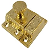 BI-43 Fancy Brass Cabinet Or Cupboard Latch Antique Reproduction + Free Bonus (Skeleton Key Badge) (6)