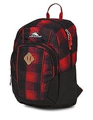 High Sierra 64023-4938 Pirk Backpack, Buffalo Plaid/Black/Crimson, International Carry-On