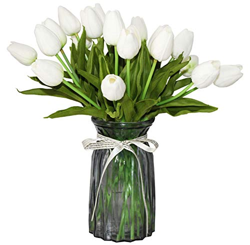 ALIERSA Artificial Tulips 10 Heads Mini Real Touch Artificial Flowers Fake Tulip for Home Decor Wedding Party DIY Bouquet Flowers (White)