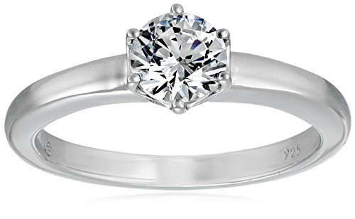 Platinum-Plated Sterling Silver Solitaire Ring set with Round Swarovski Zirconia (1 cttw), Size 8