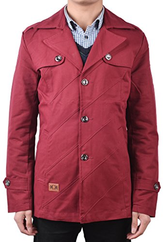 QZUnique Men's Casual Slim Fit Turn Down Collar Jacket Light Trench Coat Red ()
