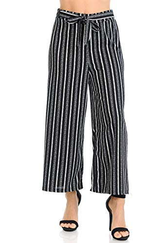 Auliné Collection Womens Wide Leg High Waisted Cropped Palazzo Pants Culottes - Sponge Black Stripe OS