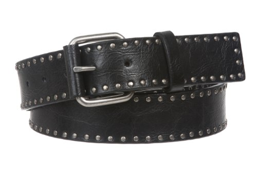 (Snap On Antique Circle Metal Studded Leather Belt Size: S - 32 Color: Black)