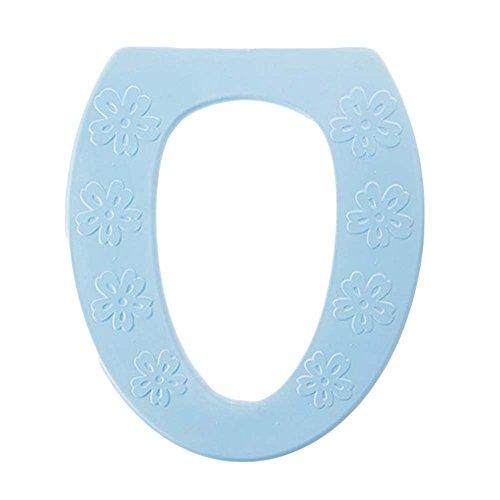 Juego de 2, almohadillas de asiento de inodoro de espuma suave y gruesa de baño, (azul)
