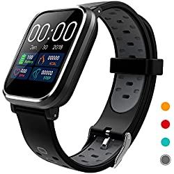 CRATEC W5 Fitness Tracker Heart Rate Sleep Monitor Blood Pressure Waterproof Smart Watch, Long Battery Life Bluetooth Activity Tracker, Large Screen Sports Band for Men Women and Kids (Gray)