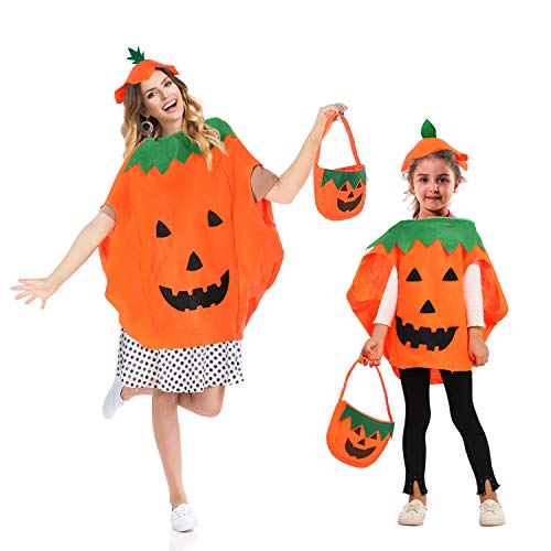Parents Baby Halloween Costumes (Trooer 2 Sets Halloween Pumpkin Costume Kids Parent Suit with Pumpkin Hat & Orange Bag for Funny Party)
