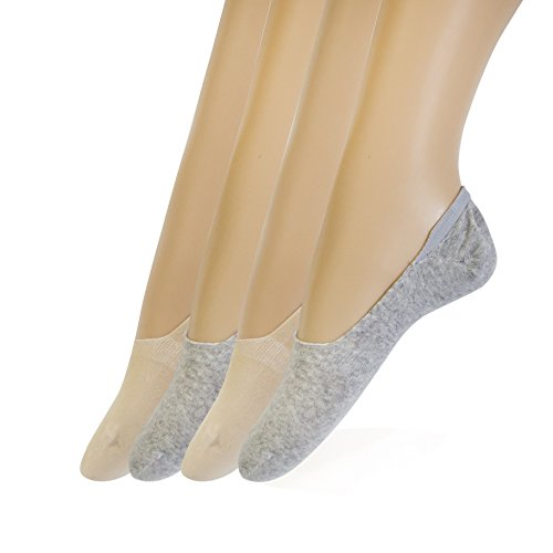 Wool Nylon Heels (No Show Socks For Women – 4 Pairs Shoe Liners For Women – Low Cut Liner Footies with Non-slip Silicon Heel Pad No See Socks For Flats, Booties, Ballet, Boat Shoes – Footsies Socks (Nude + Grey))