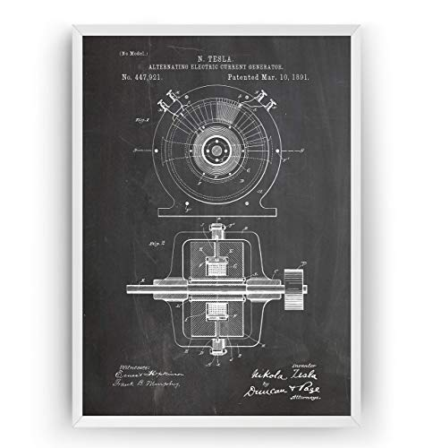 Tesla Patent Print - Alternating Electric Current Generator - Engineering Gift Engineer Science Vintage Blueprint Wall Poster Art - Frame Not Included