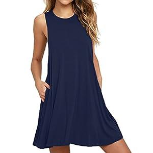 VIISHOW Women's Summer Sleeveless Dress Casual Swing T-Shirt Dresses with Pockets