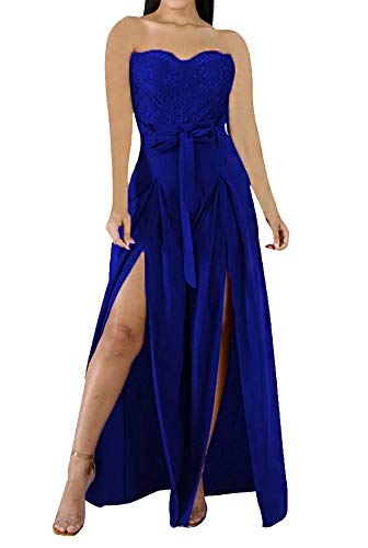 Sexy Club Outfits for Women - Off Shoulder Sleeveless Elegant Floral Lace Solid Wide Leg Pants High Waisted Long Jumpsuit Romper Cocktail Party with Belt Blue, Small