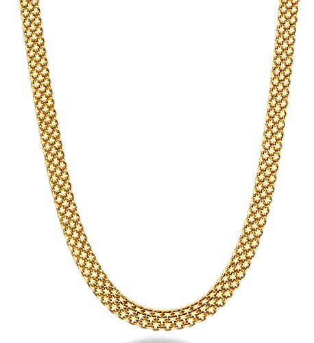 MiaBella 18K Gold Over Sterling Silver Italian 6mm Solid Bismark Mesh Link Chain Necklace for Women 18""