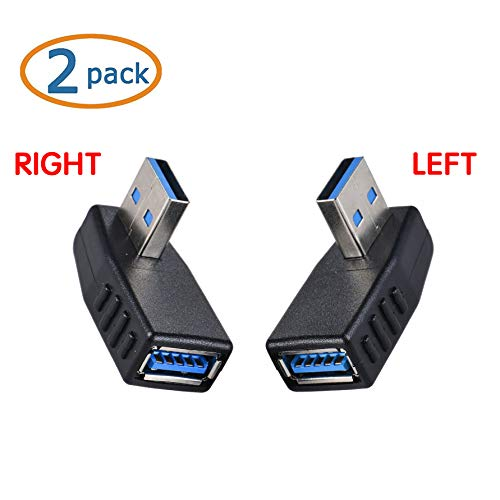 USB 3.0 Right Angle Adapter,Wuedozue 2 Pack[Left+Right] 90 Degree USB Male to Female L Shape Extension Converter for Computer,U Disk, Mouse and More