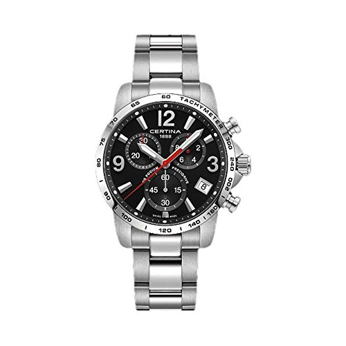 Certina Men's DS Podium 41mm Steel Bracelet & Case Quartz Black Dial Analog Watch C034.417.11.057.00