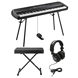 Korg SP280BK 88-Key Digital Piano and Speaker with Knox X-Style Keyboard Bench and Studio Headphones (Black)