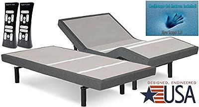 Dynasty Mattress and Leggett & Platt DynastyMattress 12 Inch Split-King S-Cape Adjustable Bed Set Sleep System Leggett & Platt with CoolBreeze Gel Mattress-FREE in Home Delivery with Setup