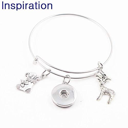 Interchangeable 18Mm Snap Button Jewelry | Ocean Turtle Mermaid Conch Starfish Seahorse Crab Adjustable Bangle & Bracelet (10Pcs) (Sock)