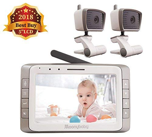 MoonyBaby 5' Large LCD Two Cameras Pack Video Baby Monitor Long Range with Automatic Night Vision & Temperature Monitoring, Two Way Talkback System (MANUALLY Rotated Camera)