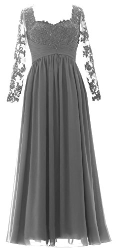 MACloth Women Maxi Evening Formal Gown Long Sleeves Mother of the Bride Dress Grau Im8lOwUTq