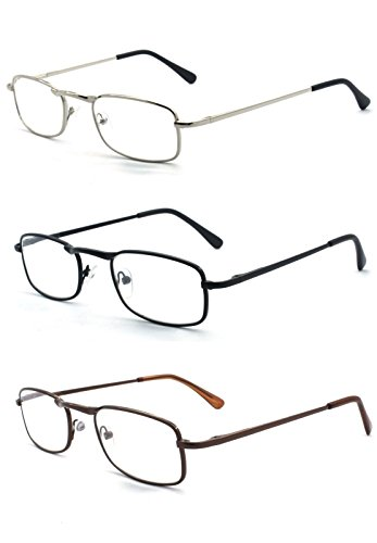 EYE-ZOOM 3 Pairs Classic Spring Hinged Rectangular Reading Glasses for Men and Women, Black, Brown and Silver, +2.50 - Bridge Wide Nose Of