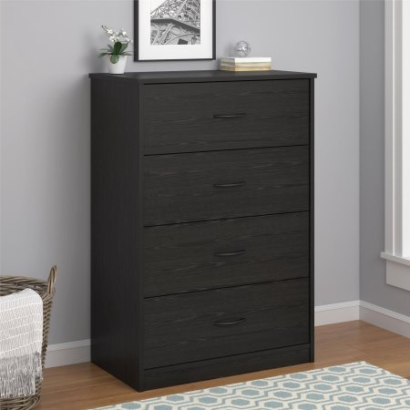 Mainstays 4-Drawer Dresser, Black Oak