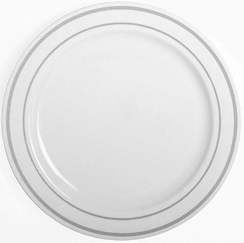 Joy Stoneware - Party Joy 50-Piece Dinnerware Set | Silver Lines Collection | Heavy Duty Premium Plastic Plates for Wedding, Parties, Camping & More, White, 10.25