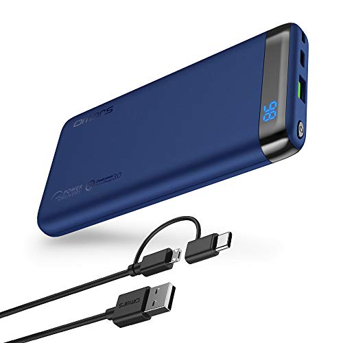 rtable Charger 10000 mAh with USB C PD Power Delivery QC Quick Charge 3.0 USB Type-C 18W Output Compatible with iPhone Xs/XR/XS Max/X / 8/8 Plus, iPad, Galaxy S9 / Note 9(Blue) ()