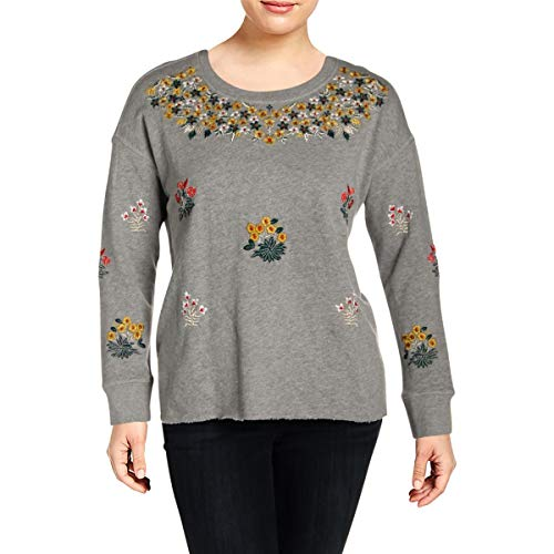 Lucky Brand Womens Plus Embroidered French Terry Sweatshirt, Crew Gray ()