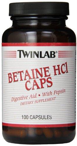 Twinlab Betaine HCI Caps, 100 Capsules (Pack of 2)