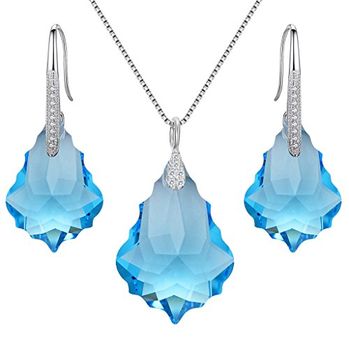 (EleQueen 925 Sterling Silver CZ Baroque Drop Pendant Necklace Dangle Earrings Set Aquamarine Color Made with Swarovski Crystals)