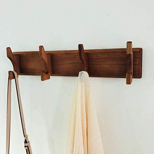 Yonor Rustic Style Wooden Wall Mounted Coat Hook Rack, Coat & Hat & Key Hooks Organizer Shelf for Entryway, Bathroom, Kitchen, and Hallway (17'', Classic Cherry Brown) by Yonor