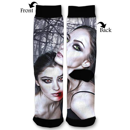 Halloween Vampire Fantasy Girl Blood Gothic Goth Quarter Dress Mid Calf Knee Crew Socks Calf Knit Hosiery Female Ladies Women Girl Teen Kid Youth Themed Clothing Party Clothes Dresses Apparel Ankle