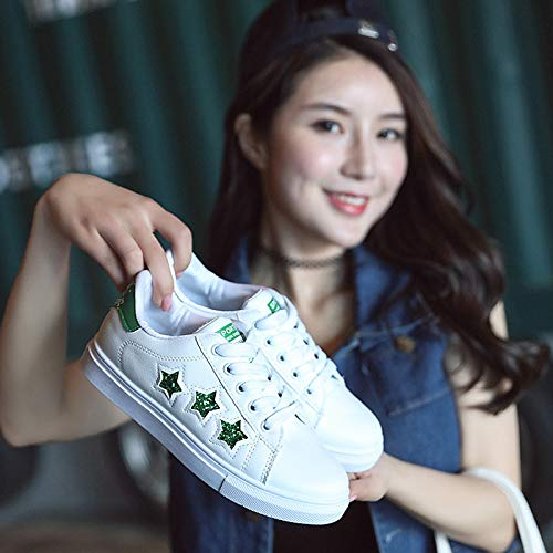 ZHZNVX Zapatos de Mujer de Piel sintética Summer Comfort Sneakers Flat Heel Red/Green / Blue Green