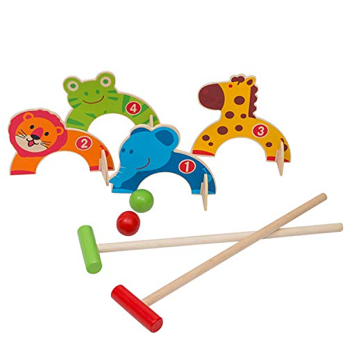 Wondertoys Wooden Animals Croquet Set Golf Toys Gift for Boys and Girls Early Educational Game for Children
