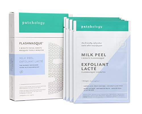 Patchology Milk Peel FlashMasque Sheet Mask to Gently Exfoliate and Smooth Skin - w|AHA, Lactic Acid, Soy & Coconut Milk - 4 Masks|Box