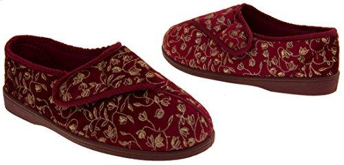 señoras extra ancho Zapatillas ortopédicos diabéticos montaje, Sz,36,37,38,39,40,41 Rojo Burdeos