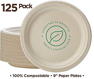 "100% Compostable 9"" Paper Plates [125-Pack] Heavy-Duty Quality Natural Disposable Bagasse Plate, Eco-Friendly Made of Sugar Cane Fibers"