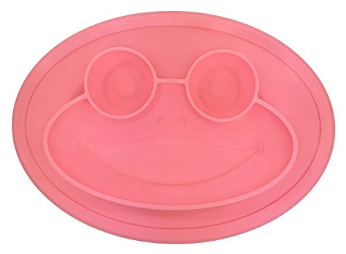 Round Silicone Frog Slip-Resistant Placemat for Children, Kids, Toddlers, Babies Highchair Feeding Tray or Kitchen Dining Table with Built in Plate and Bowl by Salbree, Pink