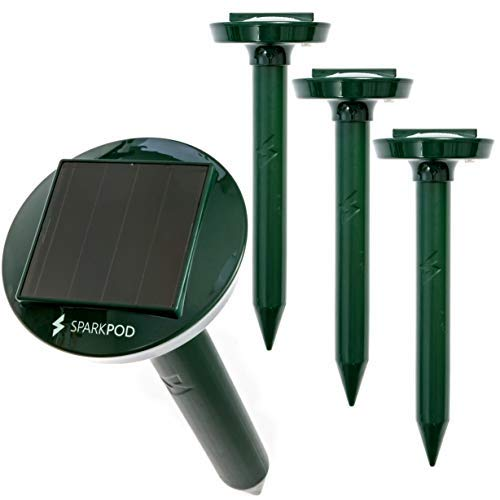 SparkPod Solar Mole Repeller (4 Pack) 4 Hours Solar Charge Lasts 5 Days Rids Your Garden of Moles...