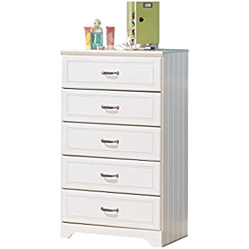 Ashley Furniture Signature Design   Lulu Chest Of Drawers   5 Drawers    Casual Styling With Crisp Finish   White