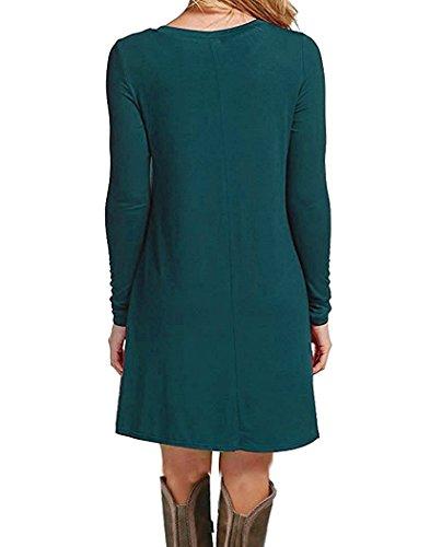 T Semplice Scuro Molerani Pianura Manica Lunga Verde Allentato Donne Delle Vestito Casuale shirt XnHxx07wY