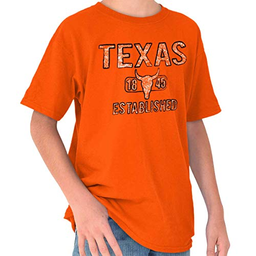 Texas Rodeo Bull Vintage Workout Americana Youth T Shirt Orange