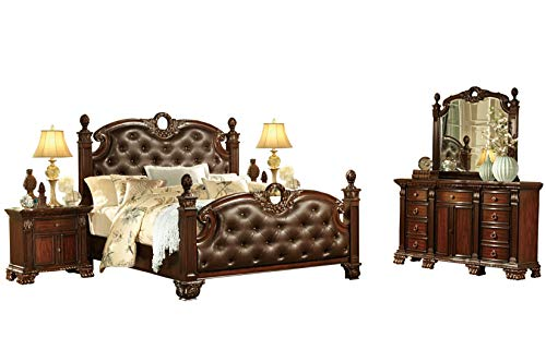 Chambord French Country 5PC Bedroom Set E King Poster Leather Bed, Dresser, Mirror, 2 Nightstand in Rich ()
