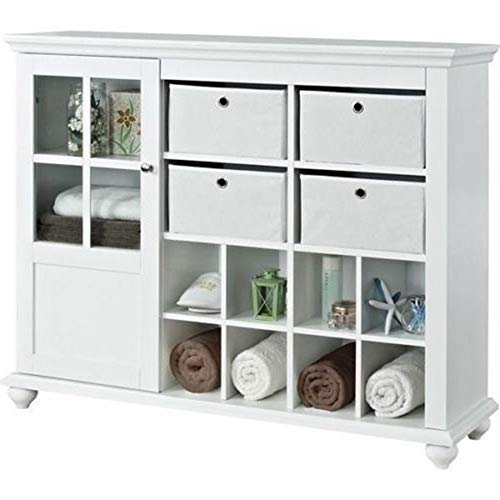 White Glass Entryway Hallway End Table Light Stand Decor Storage Cabinet 4 Drawer 1 Door, 8 Section Cubbies Fabric Bins Home Organizer Shoe Towel Book Jewelry