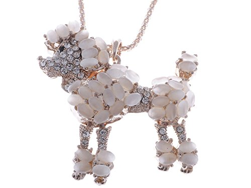 (Alilang Golden Tone Light Peach Gemstones Clear Rhinestones Poodle Dog Pendant Necklace)