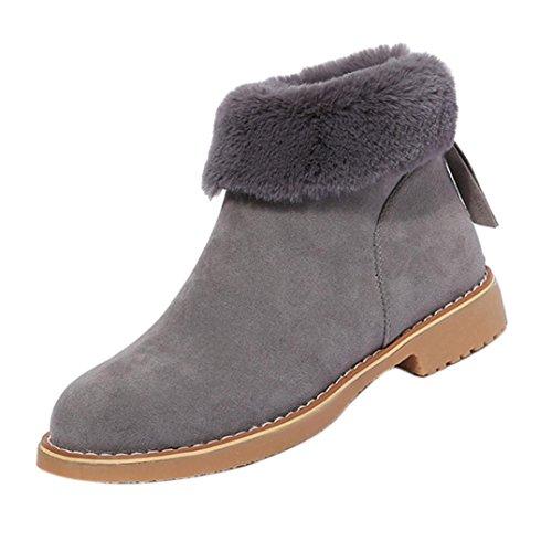 Botas De Moda Sikye Invierno Mujer Nieve Botines De Felpa Zips Warm Zapatos Botas Gray